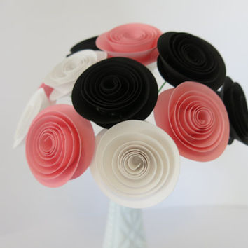 "black, pink and white paper flower centerpiece, one dozen long stem 1.5"" roses for bud vase, handmade wedding decorations home office decor"
