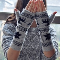 FunShop Snowflake and Reindeer Fingerless Gloves for Women F1104