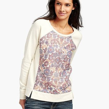 Lucky Brand Bold Floral Pullover Womens - Natural Multi
