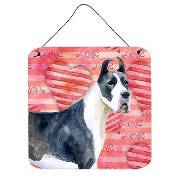 Harlequin Great Dane Love Wall or Door Hanging Prints BB9730DS66