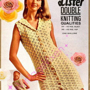 Dress Crochet Crochet Pattern Vintage 1970s Ladies Summer Wear is a Delightful SCALLOP DRESS Lister N1841 - Pdf Pattern - INSTANT Download