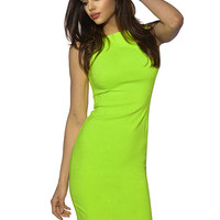 Neon Green Sleeveless Bodycon Mini Dress