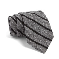 Fulton Tie in Grey With Black Stripes
