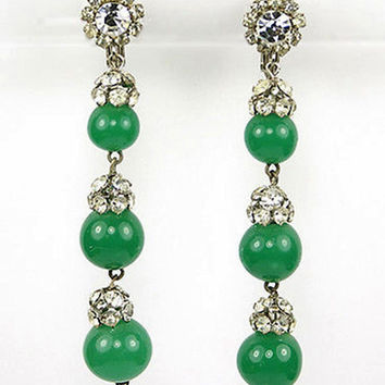 Vintage 1950's VENDOME Earrings Triple Faux Jade Globes Drop Dangle 3""