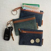 4 in 1 - denim key pouch / keychain ring / coin purse / credit card holder / car documents wallet