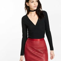 Long Sleeve Surplice Cropped Top