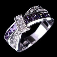 MDIGFS2 cross finger ring for lady paved cz zircon luxury hot princess women wedding engagement ring purple pink color jewelry