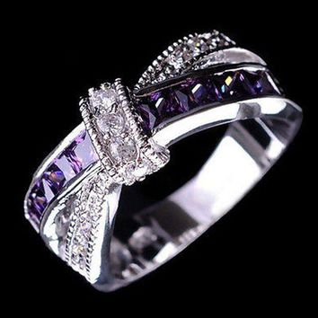 CREYLD1 cross finger ring for lady paved cz zircon luxury hot princess women wedding engagement ring purple pink color jewelry