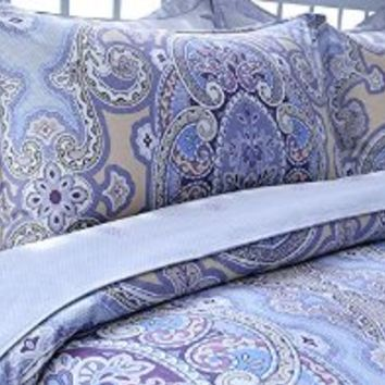 LELVA Purple Bohemian Ethnic Style Bedding Sets Boho Duvet Cover Set Floral Bedding Set Queen Size 4 Pcs