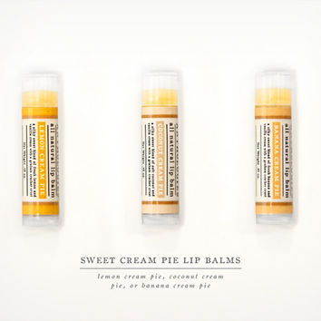 Sweet Cream Pie Lip Balms - All Natural - Lemon Cream Pie, Coconut Cream Pie, or Banana Cream Pie