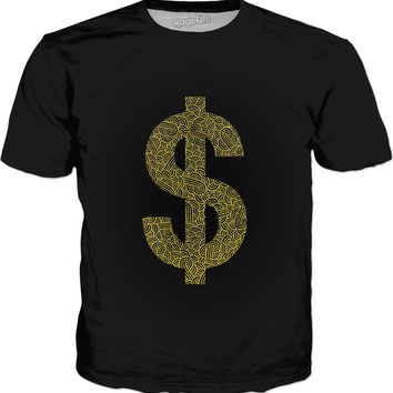 Faux gold and black swirls doodles Dollar Classic T-Shirt Black