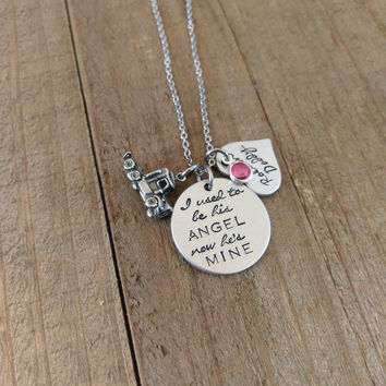 I used to be his Angel now he's mine necklace - roll on daddy - Daddys Girl necklace - Truckers Daughter - Memorial Jewelry - Loss of father