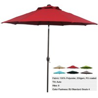 Abba Patio 9 Feet Patio Umbrella Market Outdoor Table Umbrella with Auto Tilt and Crank, 8 Ribs, Red