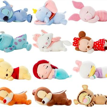 Cute Lying Sleeping Stitch Arial Princess Minnie Chip Dale Marie Cat Donald Duck Dumbo Bear Plush Toys Stuffed Animal Car Dorco