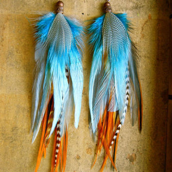 SALE: 20 Percent OFF the ENTIRE shop - Young and Wild and Free Long Feather Earrings