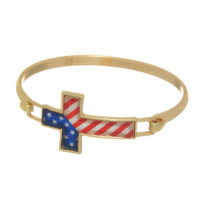 Gold Cross Bracelet W/ American Flag
