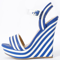 CandyLand Striped Blue and White Wedges