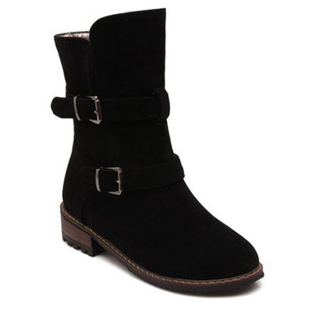 Black Mid-Calf Safety Boots With Buckles Out of Stock