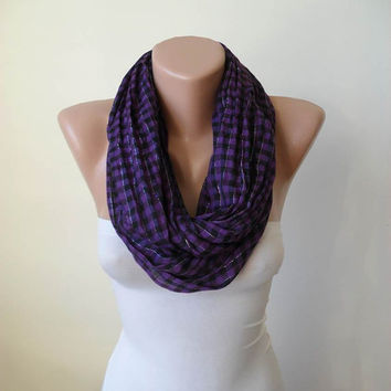 Mother's Day -Plaid Infinity Scarf - Lightweight Cotton - Purple and Black - Silvery - Cowl - Loop Scarf by Umbrella Design