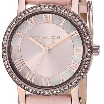 Michael Kors Watches Womens Norie Sable IP and Pink Leather Watch