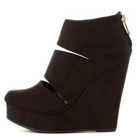 Slit Platform Wedge Booties by Charlotte Russe - Black