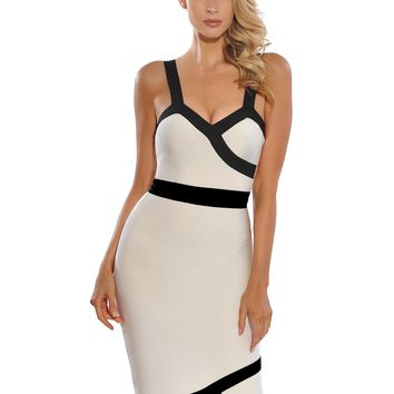 Peggy Black Line Detail Knee Length White Bandage Dress