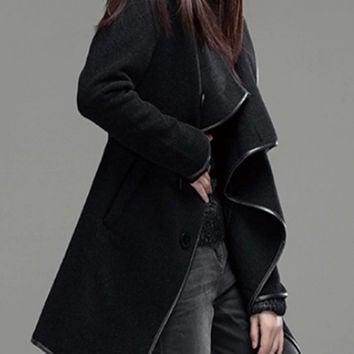women Jacket Petite Jacket Cropped coat Winter coat Black buttoned coat (J1058)