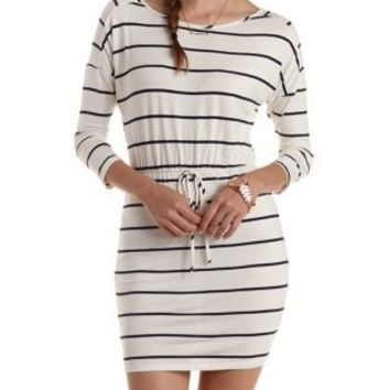 Ivory Combo Bodycon Striped T-Shirt Dress by Charlotte Russe