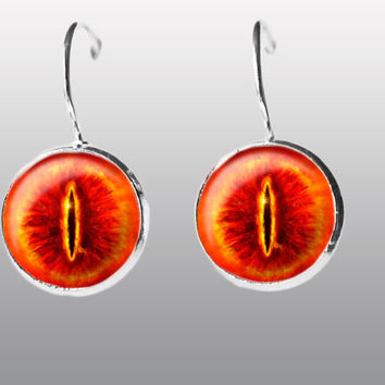 Eye of Sauron Earrings, Third Eye Jewelry, Dangle Earrings. Evil Eye Charm, Eyeball Earring. Lord of the Rings Jewelry
