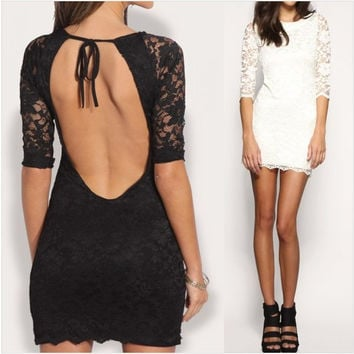 Hot Sale Backless Lace Hollow Out Sexy One Piece Dress [4966238404]