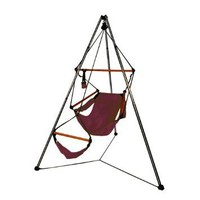 Hammaka Tripod Stand And Hammaka Chair Combo - Wooden Dowels, Burgundy