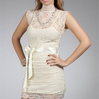 Ivory Lacey Fitted Dresses