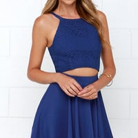 Fleur the Fun of It Blue Skater Dress