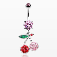 Cherry Delight Multi-Gem Sparkle Dangle Belly Button Ring