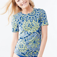Women's Short Sleeve Swim Tee Rash Guard - Medallion from Lands' End