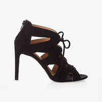 Faux Suede Ghillie Heeled Sandal from EXPRESS