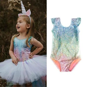 2017 Summer Hot Fashion Girls Bodysuits Gradient Color Glitter Girls Kid Sleeveless Bodysuit Toddler Summer Clothes Outfits 1-5T