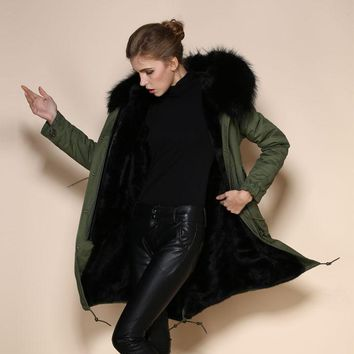 Ladies Mens Unisex Winter Outerwear Faux Fur Lined Parka With Real Raccoon Fur Trim