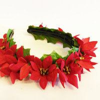 Gift For Her, Red Poinsettia, Headband, Gifts For Sister, Stocking Stuffer, Flower Girl, Gift For Daughter, Christmas Outfit, Hair Accessory