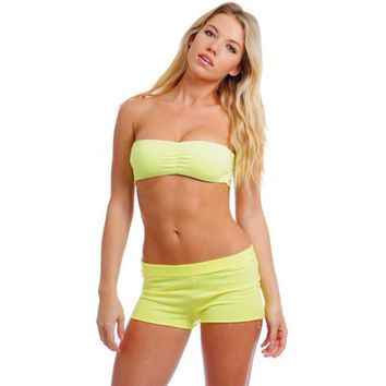 Women's Juniors Terry Hot Athletic SHORTS NEON YELLOW