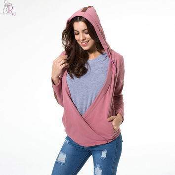 Women Sweatshirt Hoodies Pink Striped Asymmetric Wrap Front Hooded Long Sleeve High Street 2016 Fall Fashion