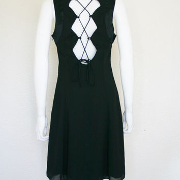 90s Lace up Black Backless Dress - large women's clothing