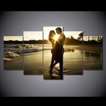 Love art print 5 Panel Picture Couple at Sunset on Ocean Gulf Beach Canvas Print