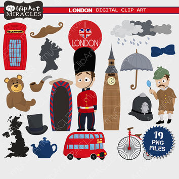 London clip art, UK theme clip art, England digital graphics, Cute London clipart, Instant download, Personal or commercial use