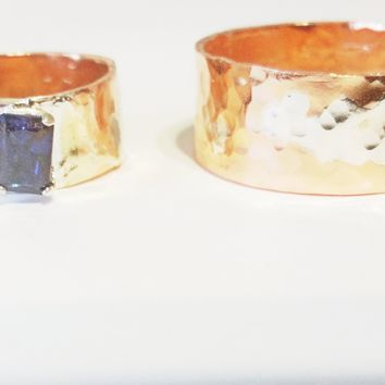 Wedding Band Set, Copper and Sterling Silver, Blue Sapphire, Mixed Metals Rings, Mens and Womens Bands