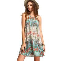 Lady 2016 Summer Women Vintage Ethnic Style Dresses Baroque Floral Print Casual Beach Dress Boho Hippie Vestidos Dresses