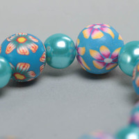 Nice blue handmade children's polymer clay wrist bracelet with beads
