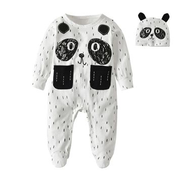 2Pc Infant Clothing Panda Style,Long Sleeve Jumpsuit+Hat. Sizes 3 To 18 Months