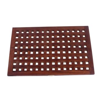 Decoteak 23 x 15 in. Lattice Teak Spa Shower and Floor Mat - Shower Mats at Hayneedle