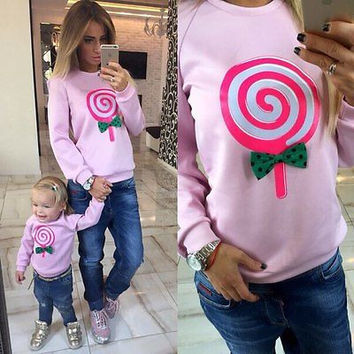 Women Lollipop Print Hoodies Sweatshirts 2015 Cute Fleece Hoodies Women Bow Pullover Autumn Fashion Kawaii Clothes